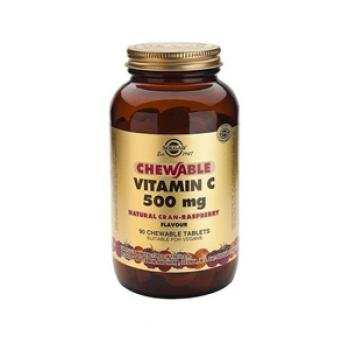 Solgar Chewable Vitamin C Natural Cran-Raspberry Flavor 500 mg. 90 Tablets